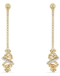 David Yurman - Crossover Chain Drop Earrings With Diamonds In 18k Gold - Lyst