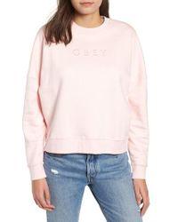 Obey - Annie Logo Cotton Blend Crewenck Sweatshirt - Lyst