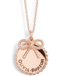 Olivia Burton - Coin Bow Pendant Necklace - Lyst