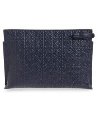 Loewe - Large Logo Embossed Calfskin Leather Pouch - Lyst