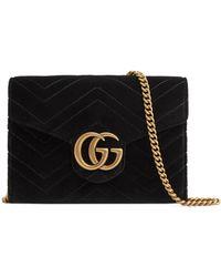 f3a5be141c7 Gucci - Gg Marmont 2.0 Matelassé Velvet Wallet On A Chain - Lyst