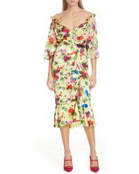 b9f7ff0586e2 Saloni Cape Overlay Metallic Floral Midi Dress - Lyst
