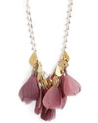 Serefina - Crystal Feather Bib Necklace - Lyst