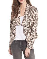 BB Dakota - Aleah Leopard Print Faux Suede Drape Front Jacket - Lyst