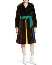 Lyst - Kenneth Jay Lane Katie Judith Shearling Coat in Brown 3b70ff1d9