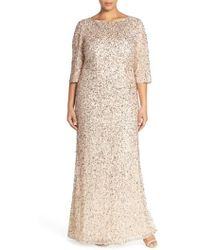 Adrianna Papell - Embellished Scoop Back Gown - Lyst