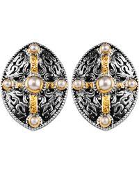 Konstantino - Pearl Classics Shield Earrings - Lyst