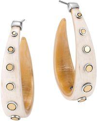 John Hardy - Sterling Silver & 18k Bonded Gold Dot Buffalo Horn Hoop Earrings - Lyst