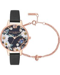 Olivia Burton - Bejewelled Leather Strap Watch And Bracelet Set - Lyst