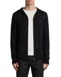 AllSaints - Mode Slim Fit Merino Wool Zip Hoodie - Lyst