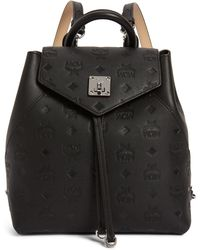 MCM - Essential Monogram Leather Small Backpack - - Lyst
