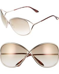 Tom Ford Miranda 68mm Open Temple OverShiny Rose Gold/ Brown