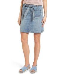 Caslon - Caslon Belted Stretch Denim Skirt - Lyst