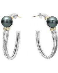 Lagos - Luna 10mm Pearl Hoop Earrings - Lyst