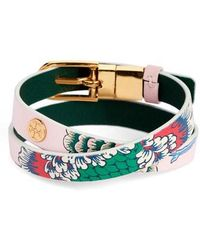 Tory Burch - Happy Times Reversible Wrap Leather Bracelet - Lyst