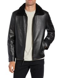 Calibrate - Leather Jacket With Genuine Shearling Collar - Lyst