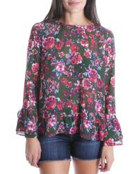 Kut From The Kloth - Trixy Ruffle Sleeve Floral Top - Lyst
