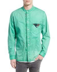 PRPS | 'cotinga' Extra Trim Fit Band Collar Woven Shirt | Lyst