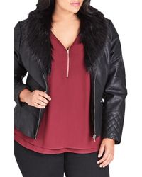 City Chic - Faux Leather Jacket With Faux Fur Collar - Lyst