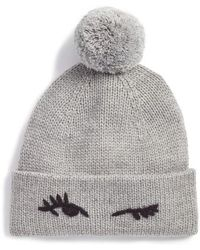 7944340031e Kate Spade - Winking Wool Blend Beanie With Pom - Lyst