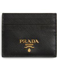 51cfe33f94ca Prada - Saffiano Leather Card Holder - Lyst