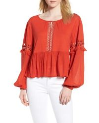 Lucky Brand - Lucky Cutout Peasant Blouse - Lyst