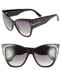 Tom Ford - Anoushka 57mm Gradient Cat Eye Sunglasses - Shiny Black/ Gradient Grey - Lyst