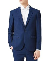 Topman | Skinny Fit Textured Stretch Suit Jacket | Lyst