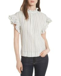 Rebecca Taylor - Ruffled Stripe Top - Lyst