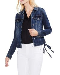 Vince Camuto - Lace-up Side Indigo Denim Jacket - Lyst