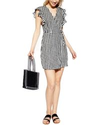 TOPSHOP Gingham Ruffle Wrap Dress