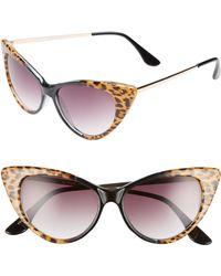 6062eb1c25 Glance Eyewear - 62mm Leopard Print Cat Eye Sunglasses - Leopard  Black -  Lyst