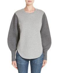 Burberry - Alcobaca Rib Knit Sleeve Sweatshirt - Lyst