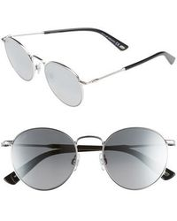00bead274c2a5 Web - 51mm Round Metal Sunglasses - Shiny Palladium  Smoke Mirror - Lyst