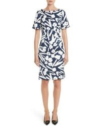 Oscar de la Renta - Painted Floral Cloque Dress - Lyst