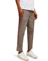 TOPMAN - Side Stripe Skinny Fit Cropped Trousers - Lyst