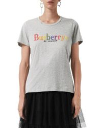 Burberry - Clumber Flocked Logo Tee - Lyst