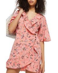 TOPSHOP - Off Duty Ruffle Tea Dress - Lyst