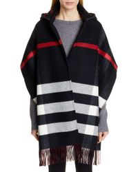 Burberry - Helene Check Wool & Cashmere Hooded Wrap - Lyst