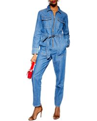 TOPSHOP - Tall Denim Utility Boiler Suit - Lyst
