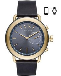 Armani Exchange - Connected Hybrid Leather Strap Smartwatch - Lyst