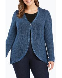 Foxcroft - Quinn Curved Hem Cotton Blend Cardigan - Lyst