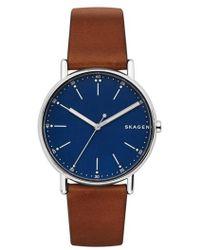 Skagen - Round Leather Strap Watch - Lyst