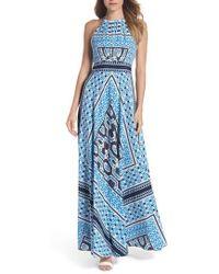 Eliza J - Scarf Print Halter Neck Maxi Dress - Lyst