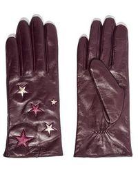 TOPSHOP - Metallic Star Leather Gloves - Lyst