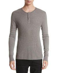 John Varvatos | John Varvatos Waffle Knit Silk & Cashmere Henley Sweater | Lyst