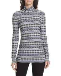 Theory - Checked Jacquard-knit Turtleneck Sweater - Lyst