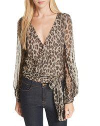 Nicholas - Leopard Print Silk Wrap Top - Lyst