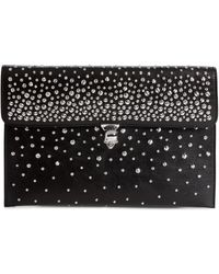 Alexander McQueen - Studded Skull Closure Leather Envelope Clutch - - Lyst