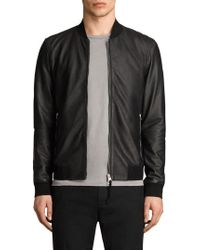 AllSaints - Mower Leather Bomber Jacket - Lyst